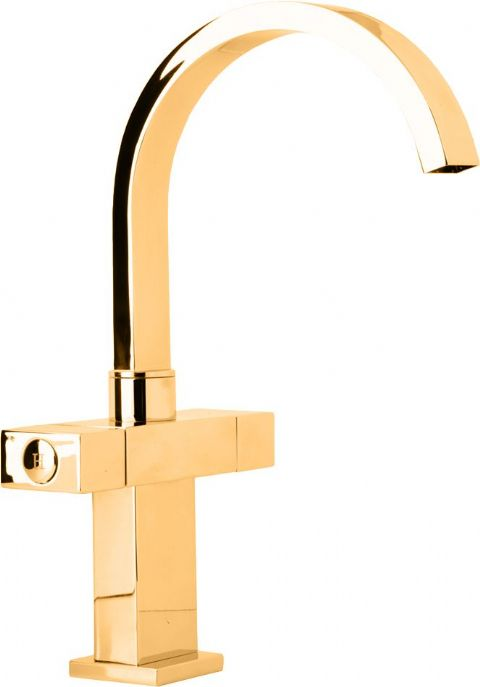 DoratO 24ct Gold Mono Sink Mixer with swivel Spout Mixer
